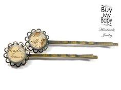 Haarspangen - Haarspange Haarklammer Set 12 mm, Vintage Brief - ein Designerstück von BuyMyBaby bei DaWanda