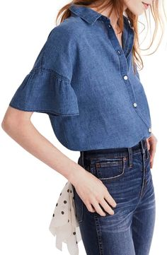 Ideas Moda Fashion Outfits Blouses For 2019 Denim Fashion, Cute Fashion, Boho Fashion, Fashion Outfits, Chambray Top, Denim Top, Blouse Outfit, Denim Outfit, Simple Outfits