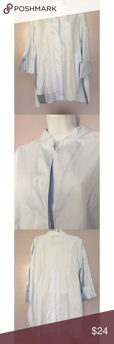 {Zara} Hi-Low Collarless Button Down w/ Stitching Gorgeous light blue color. Incredibly soft fabric. High low hem with slit on sides. Side pockets. Small hole at back of neck where a tag was (see last pic). Zara Tops