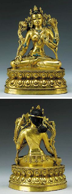 A Gilt Bronze Figure of White Tara   Tibet, 15th Century