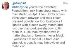 Nars sheer matte foundation. Mac studio sculpt. Bobbi brown translucent powder. Mac sheer pressed powder. Mac cork eyeshadow. Model 21 eyelashes. Mac honey love lipstick