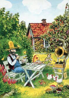 Sweden - Swedish Summer Lifestyle - Sven Nordqvist Pettson and Findus Poster Shop, Nordic Art, Naive Art, Art And Illustration, Cat Art, Childrens Books, Illustrators, Art For Kids, Folk Art