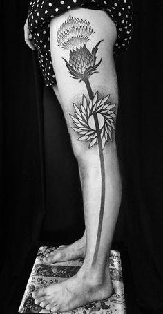Black & Gray Thistle Tattoo