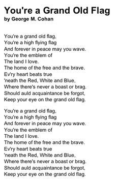 You're A Grand Old Flag Lyrics - George M! musical