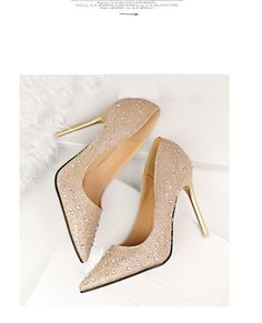 e6a12c51c2515 LAKESHI Brand Shoes Woman High Heels Pumps Women Shoes Pointed Toes Bling  Crystal Office Shoes Pink