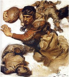 Painting by Joseph Christian Leyendecker, - Football Player 2 Football Art, Vintage Football, Navy Football, Football Images, College Football, American Illustration, Book Illustration, Jc Leyendecker, Norman Rockwell Art