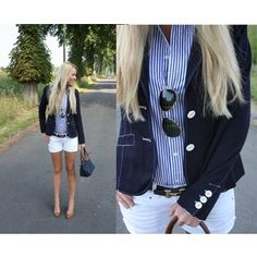 Perfect Summer Preppy Outfit. Love the light blue pinstripes with the navy blazer!