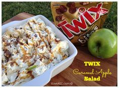 not sure you can call it a salad if it has twix and cool whip in it, but. looks pretty good nevertheless - no cake twix caramel apple salad No Bake Desserts, Delicious Desserts, Dessert Recipes, Yummy Food, Baking Desserts, Health Desserts, Yummy Yummy, Easy Desserts, Delish
