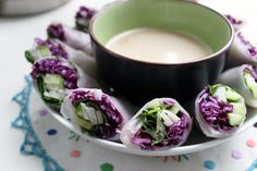Fresh Rainbow Rolls with Almond Shallot Sauce