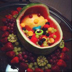 DIY Fruit Arrangements. #babyshower #fruitarrangements