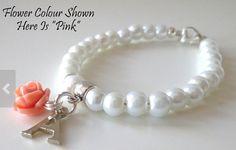 Personalized flower girl bracelet, so cute. $11.20
