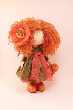 Doll Ivi redhead cloth doll doll handmade ♡ by DollsLittleAngels