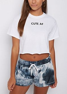 6d40fd12bf4495 Make your power move in this cute cropped tee. Made of breathable jersey  knit