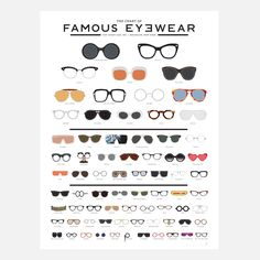 popchartlab: A meticulously illustrated eye chart of famous eyewear featuring 73 iconic frames from history, film, music, fashion and culture.Get The Chart of Famous Eyewear now! Mode Chic, Mode Style, Look Fashion, Fashion Tips, Fashion Trends, Luxury Fashion, Nail Fashion, Cheap Fashion, Fashion Clothes