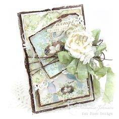 """Hello Everyone! I'm back with another card featuring the new Pion Design collection """" The Songbird's Secret """". In keeping with my goal fo. Vintage Cards, Vintage Paper, Wings Card, Lemon Crafts, Feather Cards, Shabby Chic Cards, Mothers Day Cards, Card Making Inspiration, Pretty Cards"""
