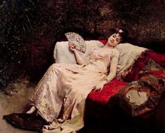 ~ Raimundo de Madrazo y Garreta ~ Spanish realist painter, 1841-1920: Reclining Lady