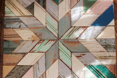Renegades -motifs of Bergeron Woodworks' bergeronwoodworks. salvaged wood pieces - photo by Ship & Shape Reclaimed Wood Art, Barn Wood, Wooden Projects, Wood Crafts, Wood Mosaic, Wood Design, Diy Design, Pallet Art, Wooden Wall Art
