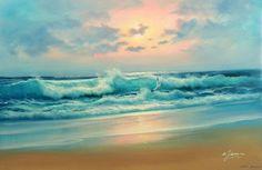 Azul verde mar caribe Surf olas Beach Ocean Pink Sunset 24 X 36 petróleo