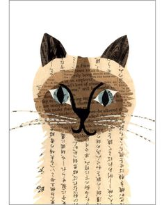 siamese cat original paste art collage piece on 100% cotton board by denise fiedler