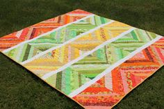 Large Lap String Quilt in Bright Citrus Colors, Orange Lime Green Lemon Yellow White Blanket