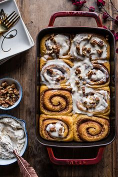 Sweet Potato Pie Cinnamon Rolls with Butter Whipped Meringue Frosting | halfbakedharvest.com @hbharvest