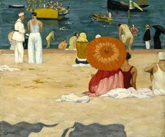 'On the Beach (Saint Jean de Luz)' (1929) by Canadian artist John Lyman (1886-1997). Oil on paper mounted on canvas. collection: national Gallery of Canada, Ottawa. ty, hyperallergic. source: McMichael Canadian Art. via Jean M on flickr