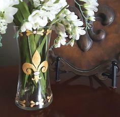 Fleur De Lis hand painted glass vase  gold by Jodistuff on Etsy