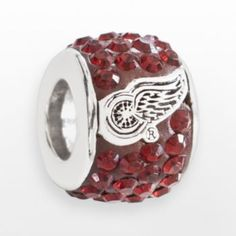 LogoArt Detroit Red Wings Sterling Silver Crystal Logo Bead - Made with Swarovski Elements