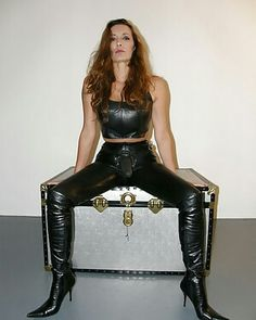 Leather mistress rubber boots mature moms-251