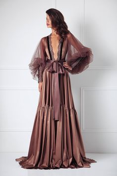This decadent silk robe by Amoralle is the stuff that dreams are made of! Those voluminous tulle sleeves are breathtaking! Luxury lingerie at its finest. Luxury Nightwear, Luxury Lingerie, Lingerie Sleepwear, Sexy Lingerie, Lingerie Gown, Bodysuit Lingerie, Bridal Lingerie, Pretty Lingerie, Vintage Lingerie
