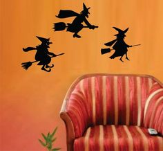 Three FLlying Witches Halloween Wall Vinyl Decal Art Graphic Sticker