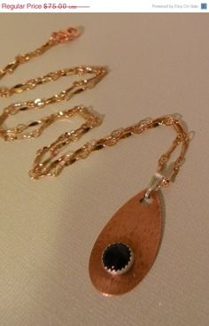 ON SALE Therese  -   Black Onyx Sterling Silver Hammered Copper Teardrop Pendant Necklace   -  Handcrafted