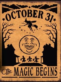 Primitive Halloween sign October 31 The Magic Begins folk art moon witches Decorations Signs Harvest Trick or Treat Witchcraft Samhain Primitive Halloween-Zeichen Oktober Die [. Halloween Tags, Retro Halloween, Vintage Halloween Images, Halloween School Treats, Fairy Halloween Costumes, Halloween Party Supplies, Easy Halloween, Holidays Halloween, Halloween Crafts