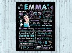 Frozen chalkboard sign first birthday by PoshPaisleyBoutique
