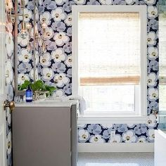 Gray and Blue Bathroom with Green penny Tile Floor