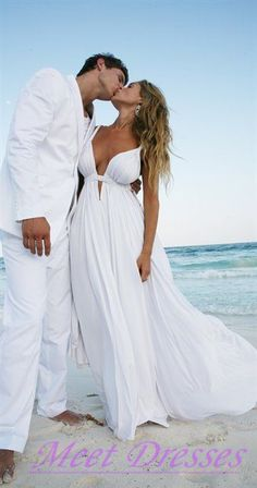2015 Empire Beach Wedding Dresses With Straps V neckline White Chiffon Summer…