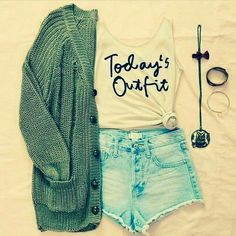 Cute denim bright shorts with top tee and green warm sweater and braslate the best and cute fresh teenage fashion trend