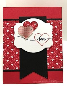 Hello Life by Debbie Currier, Card Recipe: Stamps- Hello Life; Paper- Real Red, Basic Black, Whisper White, Stacked with Love designer paper; Ink- Tuxedo black Momento ink, Real Red, Calypso Coral; Accessories- Deco Labels framelits, rhinestones, dimensionals