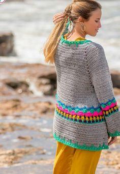 Crochet Mitts, Crochet Jumper, Crochet Jacket, Crochet Cardigan, Crochet Stitches, Knit Crochet, Knitting Patterns, Crochet Patterns, Knitting Videos