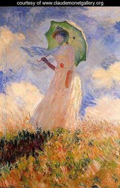 Woman With A Parasol Aka Study Of A Figure Outdoors (Facing Left) - Claude Oscar Monet