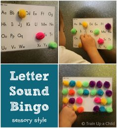 Letter sound bingo - sensory style learning.  Many other ideas for hands on learning included in the post.