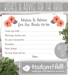 Wishes and Advice for the Bride to Be Cards | Pack of 50 | m&h invites | madison & hill | Fun Bridal Shower Activity - Sweet Momento for the Bride to Be!