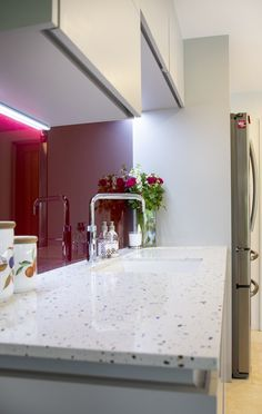 Specifications are: Masterclass units - Sutton Silk H Line Light Grey Aluminium effect handle rail  Other: Worktop Tutti Frutti Quartzstone Splashback Merlot Decoglaze glass Dimable colour changing feature lighting suite Quooker tap Blanco sink