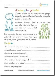 Comprensi�n lectora: Jaime y los gemelos Learning Sight Words, Spanish Teaching Resources, Reading Time, Spanish Language, Reading Comprehension, Middle School, Literacy, Writing, How To Plan
