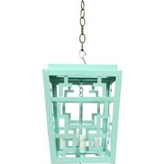 10D x 12H $2500. THE WELL APPOINTED HOUSE - Luxuries for the Home - THE WELL APPOINTED HOME Hand Painted Chinese Fretwork Pendant Chandelier in Mint Green