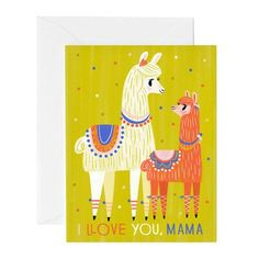 Adorable Mother's Day card featuring a Mama Llama and her baby. Easy Painting For Kids, Art For Kids, Alpacas, Llama Arts, Llama Llama, Crayon Painting, Color Crayons, Valentine Greeting Cards, Easy Paintings