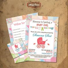 Baby girl Shower Invitation DIY card Shabby chic by AngelinaWorks, $14.90