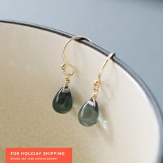 night swimming - gold and blue teardrop earrings by elephantine.