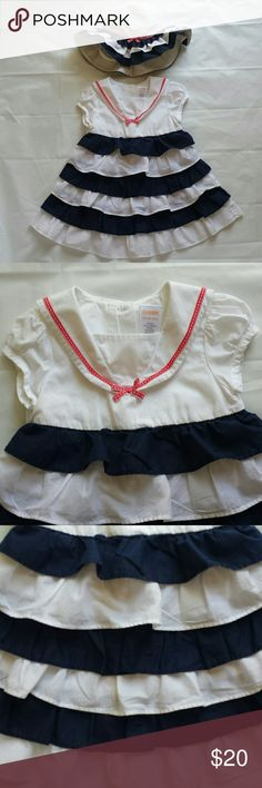 Gymboree Toddler Girls Size 18-24 mo Dress/Sunhat I fell in love with this beautiful set, my daughter received so many compliments when she wore it! Sweet, navy theme, dark blue and white ruffle skirt, sailor collar and adorable ruffled sunhat! Made by Gymboree, dress toddler girls size 18-24 mo, sunhat size 2T-3T. 100% cotton, lined, machine washable. I'm not gonna lie to my Poshmark mommies, it's a little bit tricky to iron, but manageable and is well worth the extra time!! Excellent…
