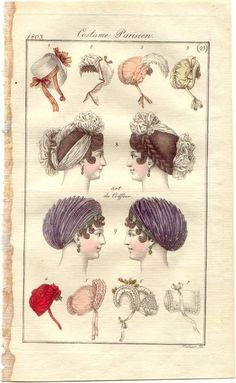 Hats, bonnets, and turbans, French, 1803.